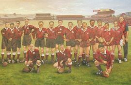 Queensland rugby league team of the century painting by Dave Thomas