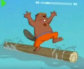 Oakly the Beaver on the log