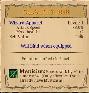 Cabbalistic belt
