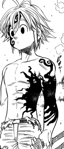 File:Meliodas moving the black mark to protect himself from Helbram's attack.png