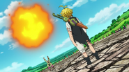 Cain preparing to attack Meliodas with big attack