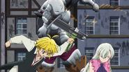 Meliodas saving Elizabeth from Golgius' attack