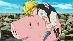 Meliodas resting on Hawk