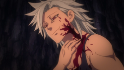 Ban receiving his scar from Meliodas