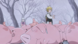 Meliodas beating all of the Hawks