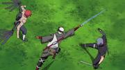 Omoi and Kankuro attack Shin