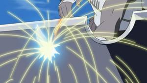 Killer Bee piercing through Suigetsu's sword.png
