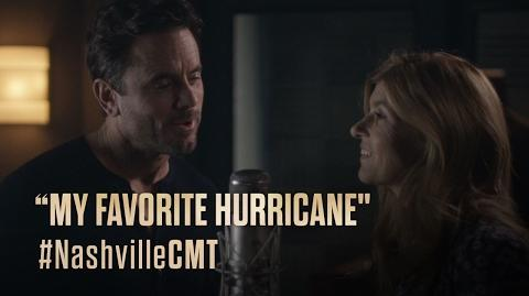 "NASHVILLE on CMT Rayna and Deacon Sing ""My Favorite Hurricane"""