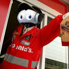 Civilian robot working at McDonald's.