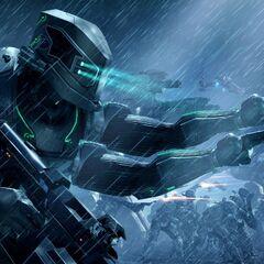 Alabots doing training exercises alongside Snow Giant II battlemechs.