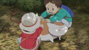 Natsume Yuujinchou - OAD children rubbing nyanko