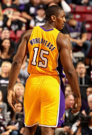 Back view of Metta World Peace s jersey