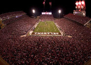 Oklahoma memorial stadium night