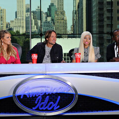 The judging panel during the second day of filming