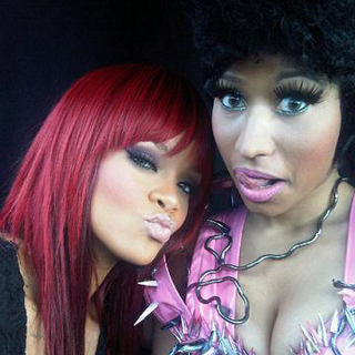 Rihanna and Nicki on the set of the music video for