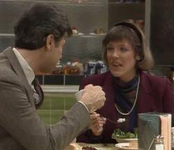 Patty Douglas and Dan having lunch