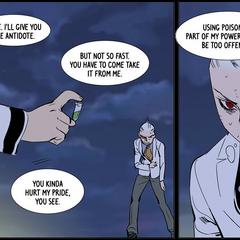 Kalvin uses poison as his power.