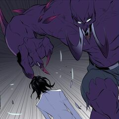 Jake trying to attack Rai in his new transformed form