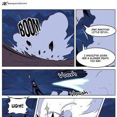 Seira counterattacks through the dust cloud.