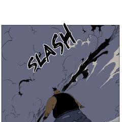 Seira slashes Hammer through the dust cloud.