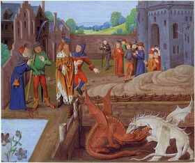 Vortigern watches the red and white dragons fight.