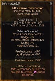 Kenko swordsman stats