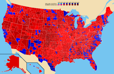 County Map of Hypothethical 2016 Election
