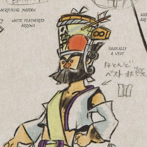 Nagi's concept art dressed in Nami's sacrificial robe.