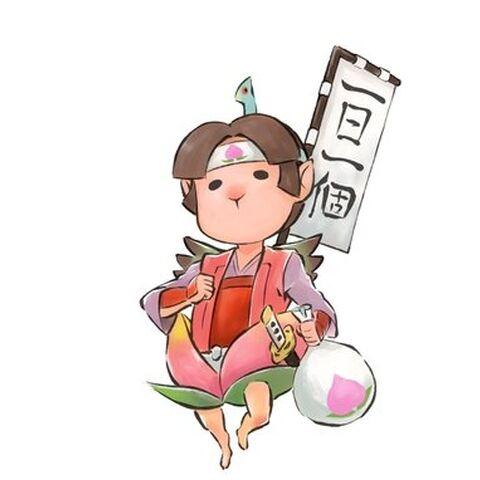 Artwork of Momotaro from <i>Ōkamiden</i>.