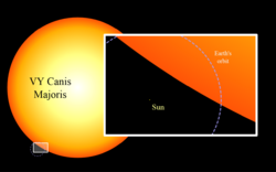 Sun and VY Canis Majoris