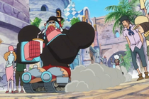 Franky and Thunder Soldier Traveling Through Dressrosa