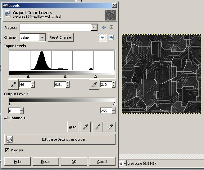 Specular textures-gimp texture levels