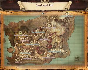 Map sinskaald rift marked locations