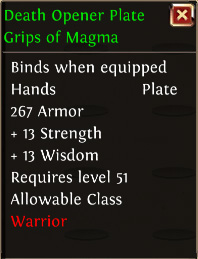 Death opener plate grips of magma