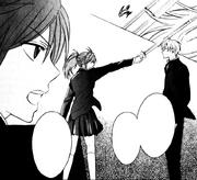 Hojo hits Yui using sword