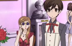 Eclair with her glasses looking at haruhi