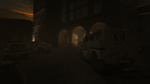 Military armored vehicles parked in front of the asylum.
