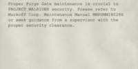 Purge Gate Maintenance Memo