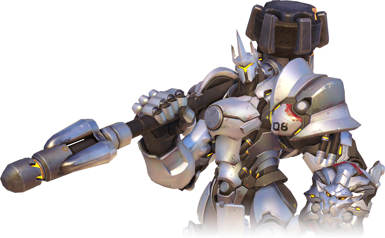 The hulking, heavily armored character Reinhardt, from the video game Overwatch, who wields a gigantic hammer.