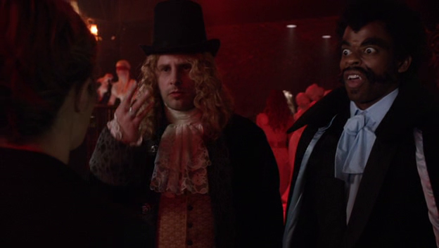 Screenshot from the episode with Shawn and Gus dressed up as Lestat and Blacula respectively.