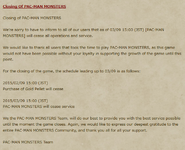 Pac-Man Monsters Closure Notice
