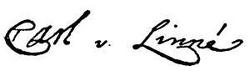 Linne autograph