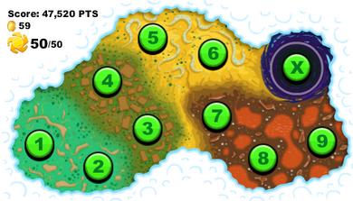 Alle 10 nivåene som finnes i spillet.