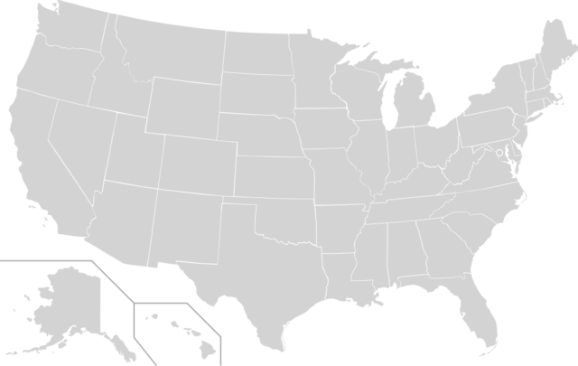A map of PRT departments in the US, with quarantine zones in red.