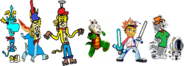 Thomas as Rayman, Ten Cents as Spyro, Theodore Tugboat as Crash Bandicoot, Rocko as Croc, Barry as Spike, and Tom and Bobert as Ratchet and Clank.