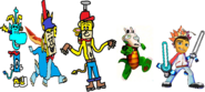 Thomas as Rayman, Ten Cents as Spyro, Theodore Tugboat as Crash Bandicoot, Rocko as Croc, and Barry as Spike.