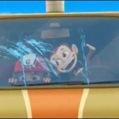 Mandy driving Mr. Porter's van, as Ryder is nearly scared to death.