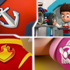 The badges along with their superhero outfits.
