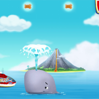 The Air Patroller flying next to the baby whale