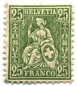 Stamp Switzerland 1881 25c